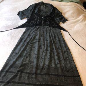 Vtg Carole Little rayon vested dress maxi size 8